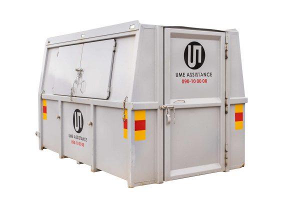 Liftdumpercontainer täckt umeå